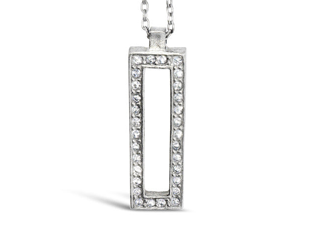 "20"" Gunmetal Frame Crystal Necklace"