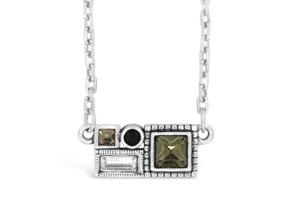 Cityscape Black and White Necklace