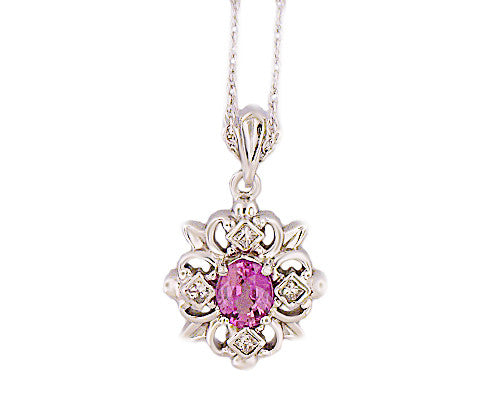 14k White Gold .18ct Diamond & Purple Sapphire Necklace