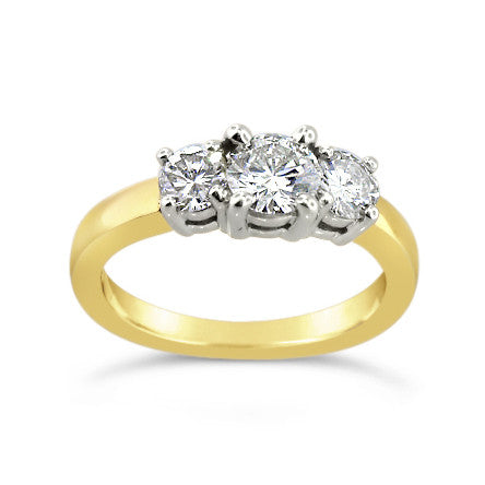 14kt 1.02ct 3-stone Yellow Gold Engagement Ring