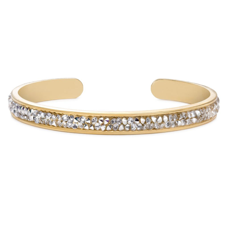 Luca and Danni Swarovski Druzy Metallic Silver Gold Brass Cuff