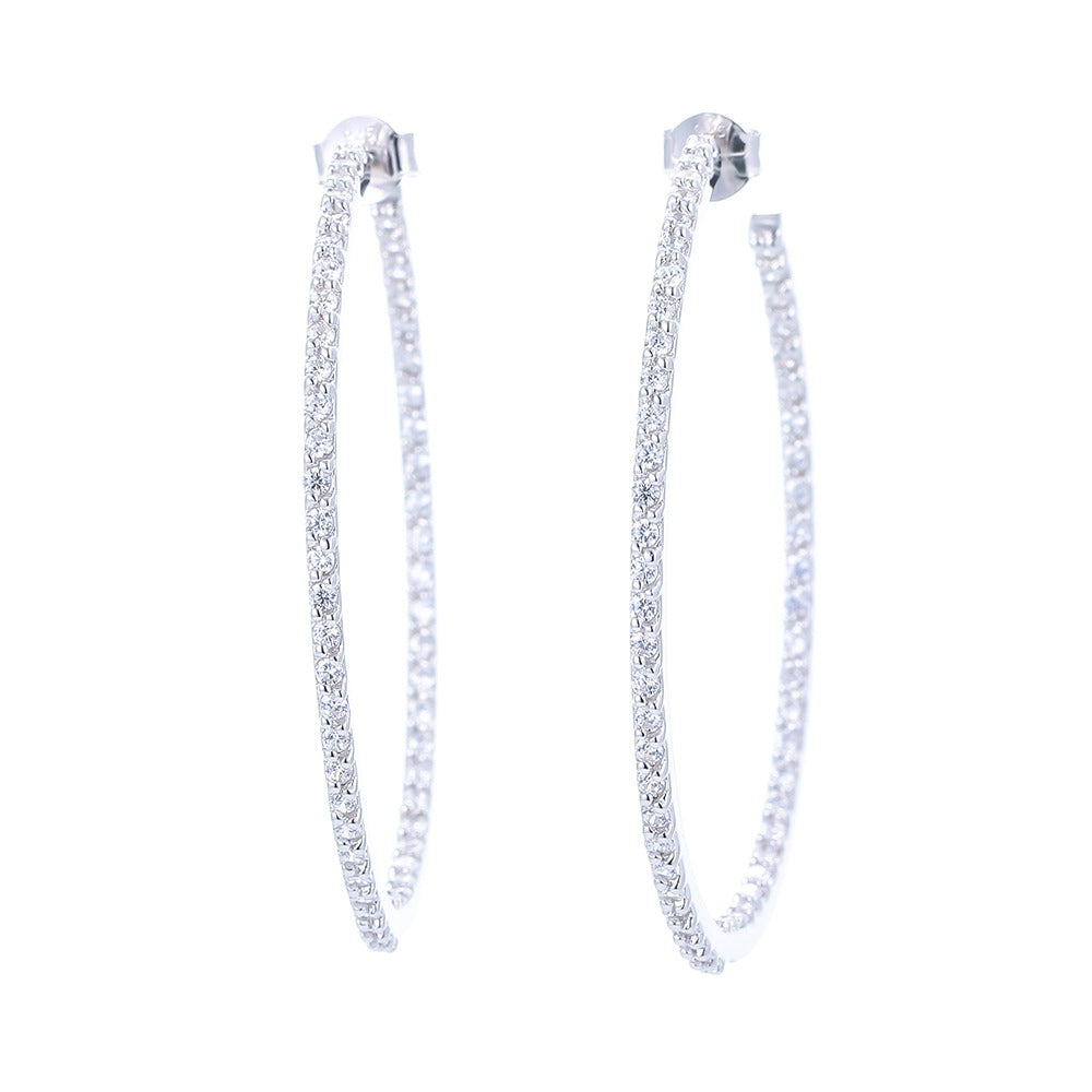 Sterling Silver In and Out Diamondette Hoops