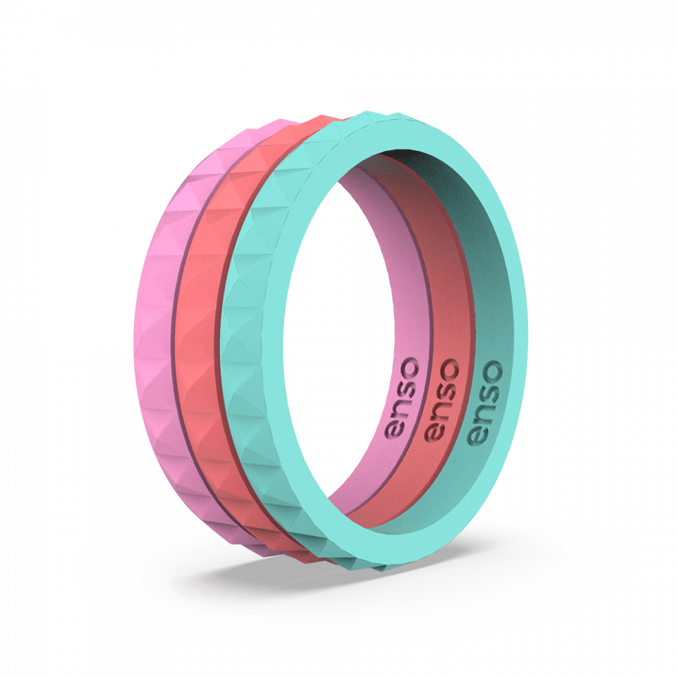 Pyramid Stackable Fuchsia, Turquoise, and Coral Silicone Ring Set
