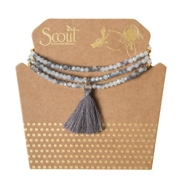 Cloud Grey Tassel Wrap