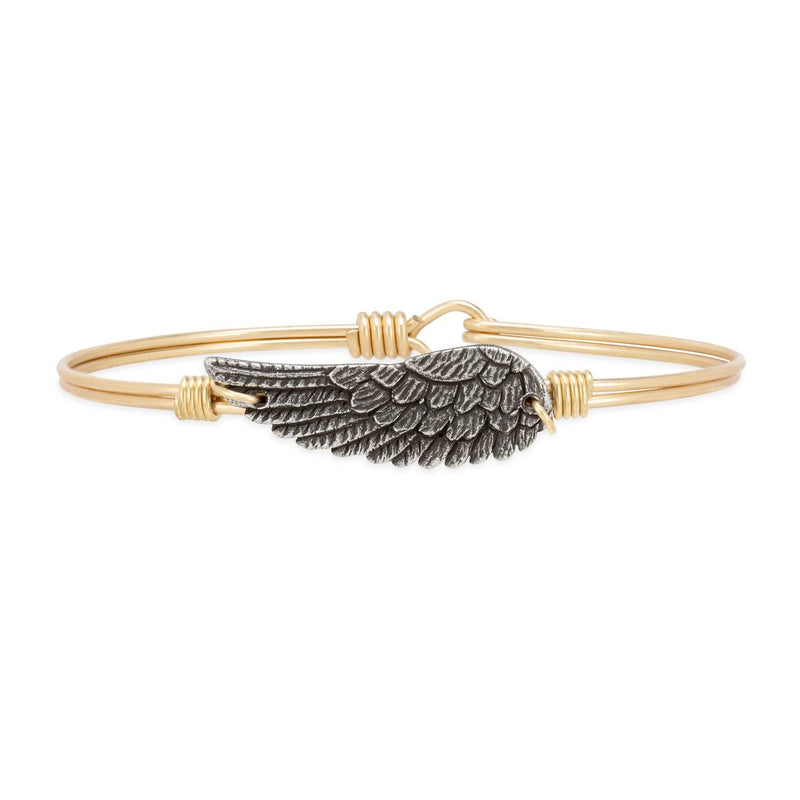Luca and Danni Angel Wing Gold Brass Bangle Bracelet