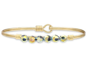 Zoey Dark Smoke AB Brass Bangle Bracelet