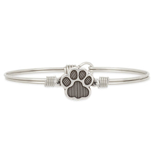 Luca and Danni PawPrint Silver Bangle Bracelet