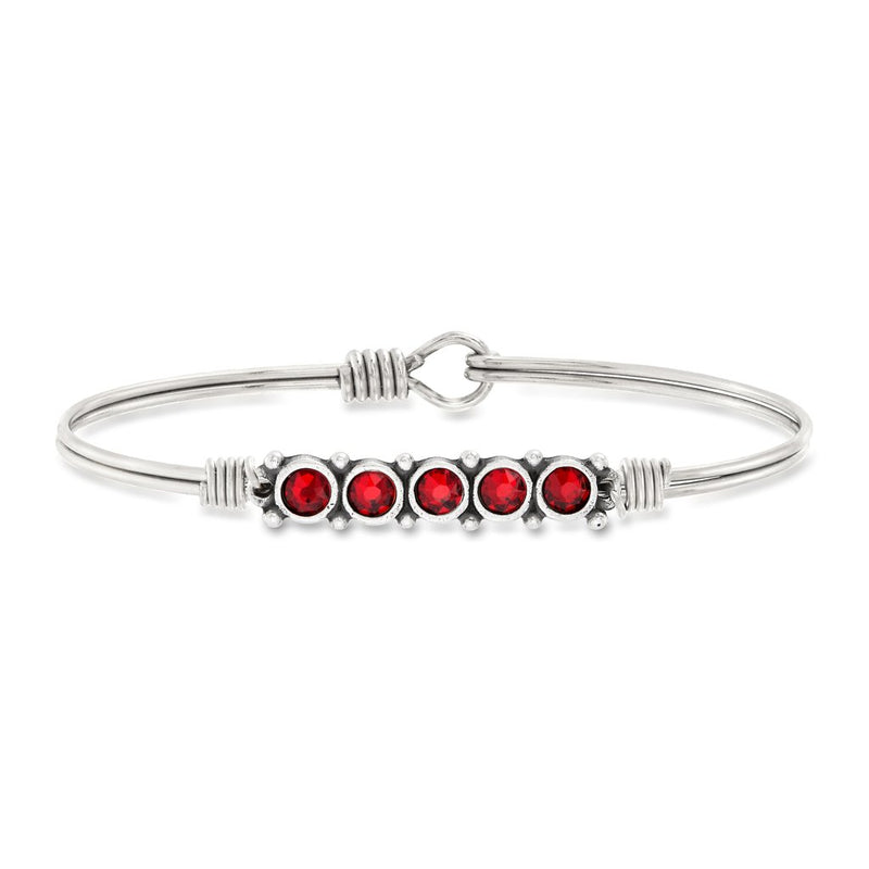 Luca and Danni January Birthstone Silver Bangle Bracelet