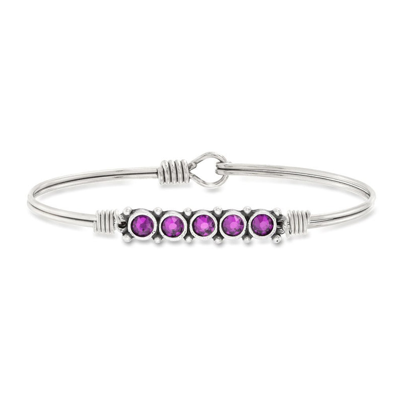 Luca and Danni February Birthstone Silver Bangle Bracelet