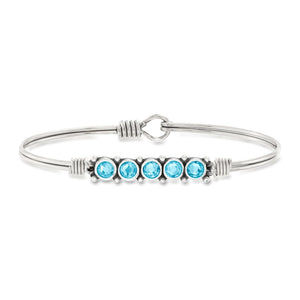 Luca and Danni March Birthstone Silver Bangle Bracelet