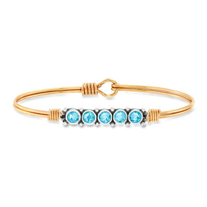Luca and Danni March Birthstone Gold Brass Bangle Bracelet