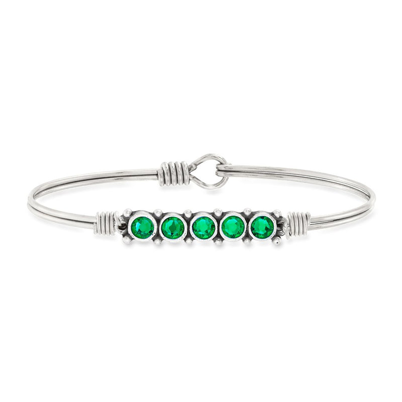 Luca and Danni May Birthstone Silver Bangle Bracelet