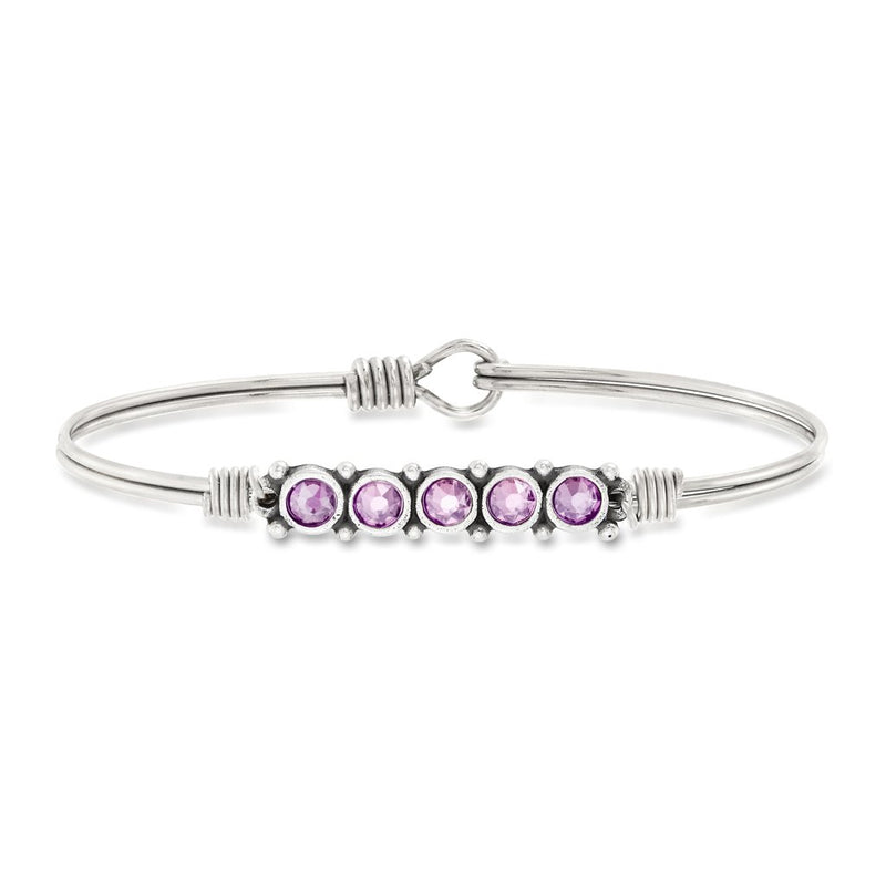 Luca and Danni June Birthstone Silver Bangle Bracelet
