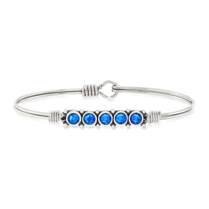 Luca and Danni September Birthstone Silver Bangle Bracelet