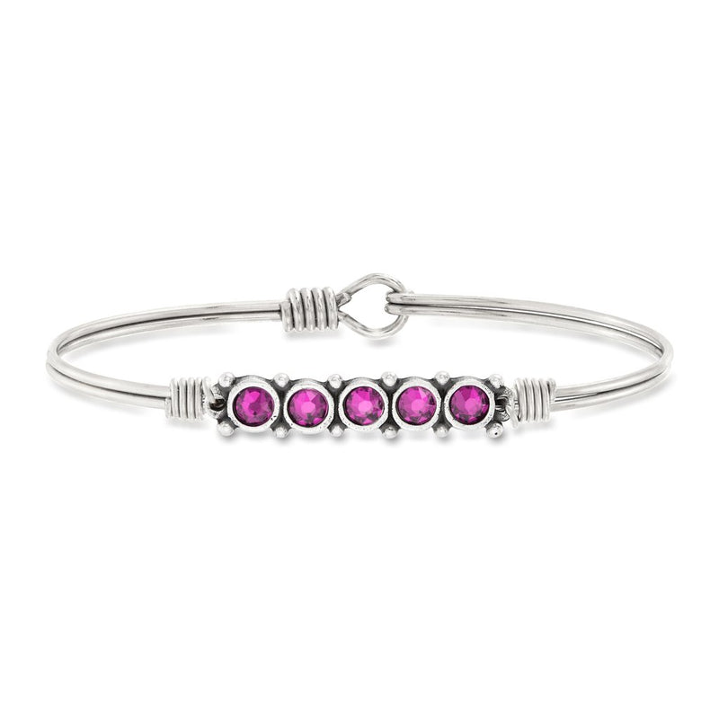 Luca and Danni October Birthstone Silver Bangle Bracelet