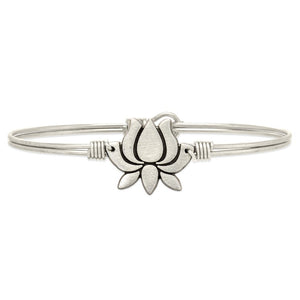 Lotus Flower Silver Bangle Bracelet