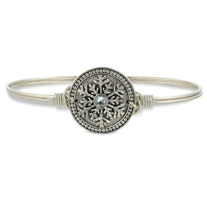 Luca and Danni Snowflake Silver Bangle Bracelet