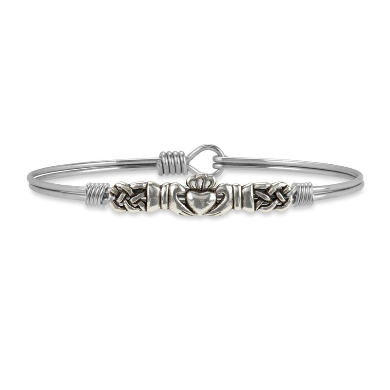 Luca and Danni Claddagh Silver Bangle Bracelet