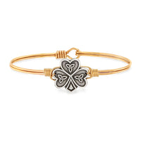 Luca and Danni Shamrock Gold Brass Bangle Bracelet