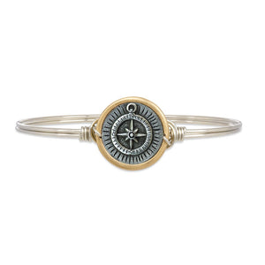 Luca and Danni Compass Silver Bangle Bracelet