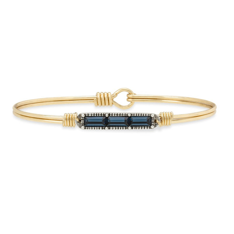 Mini Hudson Montana Blue Brass Bangle Bracelet