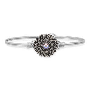 Sunflower Silver Bangle Bracelet