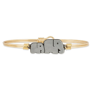 Luca and Danni Mama Elephant Gold Brass Bangle Bracelet