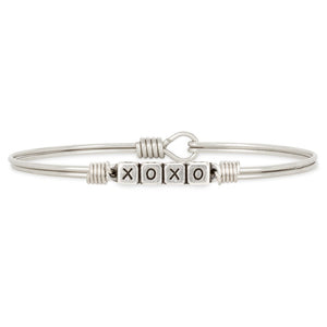 Luca and Danni XOXO Blocks Silver Bangle Bracelet