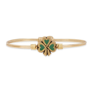 Luca and Danni Lucky Shamrock Gold Brass Bangle Bracelet