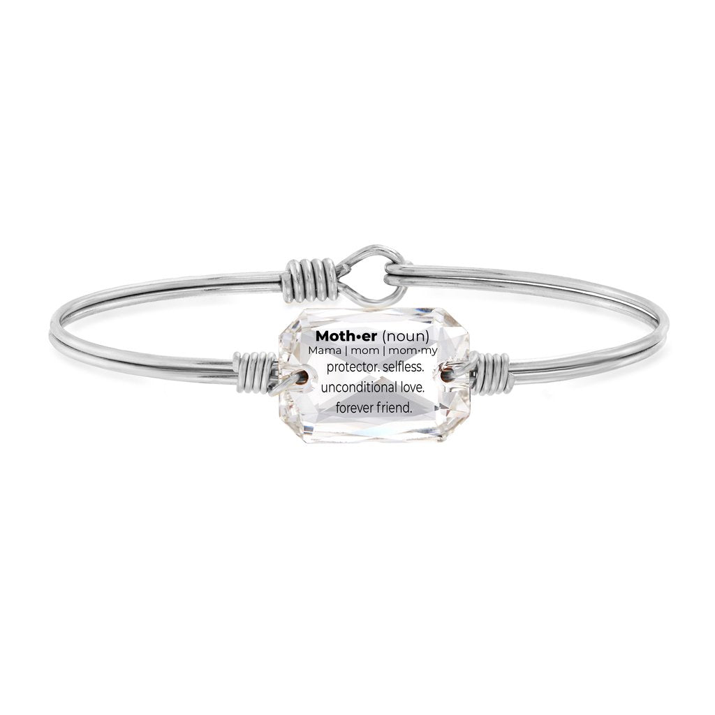 Luca and Danni Mom Definition Crystal Silver Bangle Bracelet