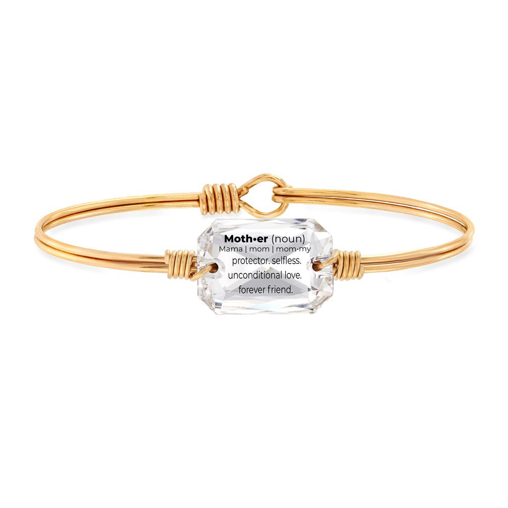 Luca and Danni Mom Definition Crystal Gold Brass Bangle Bracelet
