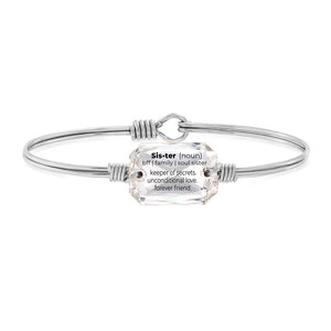 Luca and Danni Sister Definition Crystal Silver Bangle Bracelet