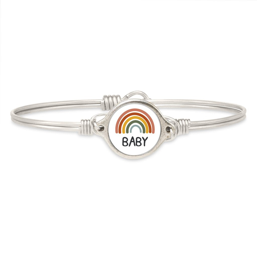 Luca and Danni Rainbow Baby Silver Bangle Bracelet