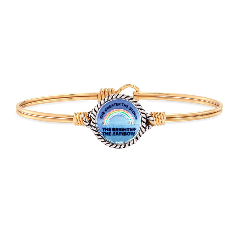 Luca and Danni Rainbow Mood Mantra Brass Bangle Bracelet