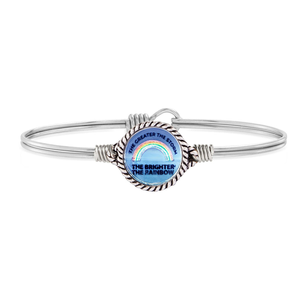 Luca and Danni Rainbow Mood Mantra Silver Bangle Bracelet