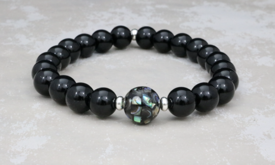 Abalone Shell Bead and Onyx Bracelet