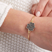 Luca and Danni Shamrock Brass Bangle Bracelet