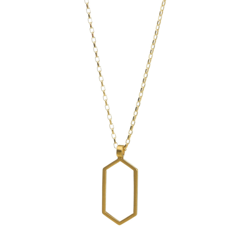 "Gold Dipped 18"" Air Hexagon Necklace"