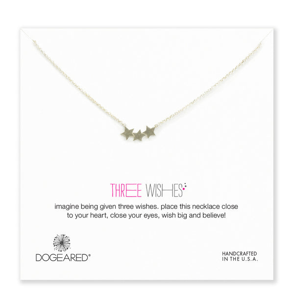 "Sterling Silver 18"" Three Wishes Triple Star Necklace"