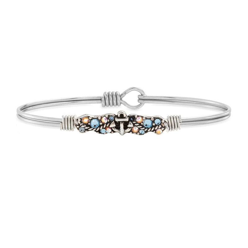 Luca and Danni Anchor Medley Silver Bangle Bracelet