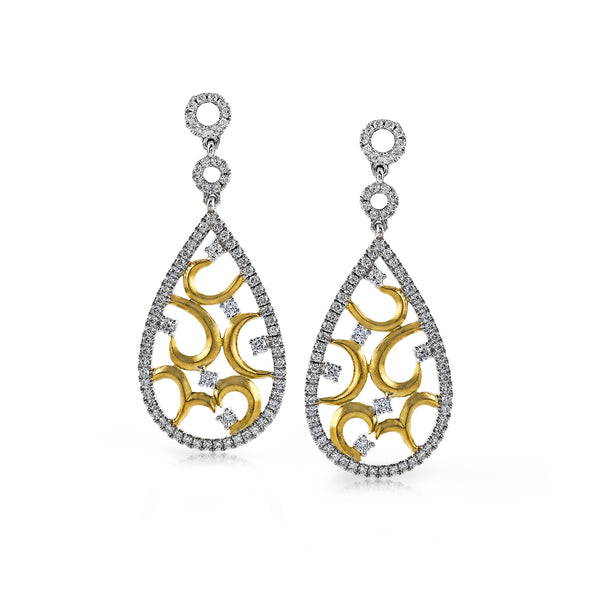 14k White and Yellow Gold .77ct Diamond Earrings