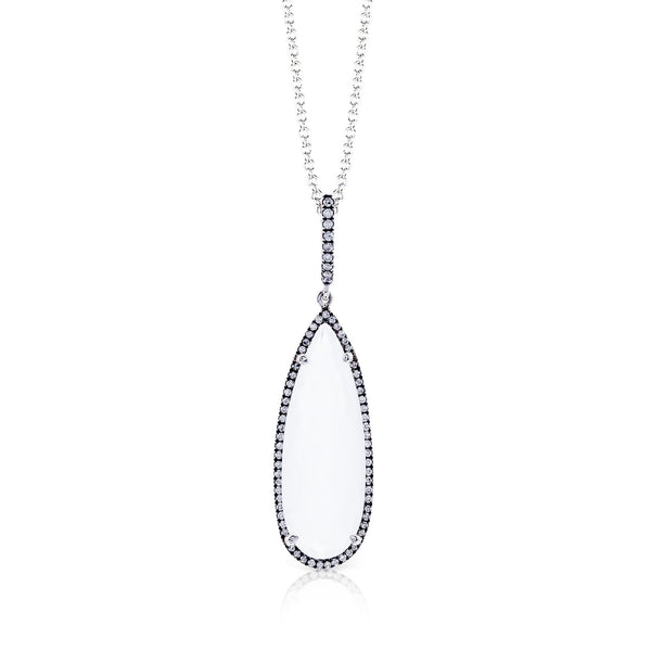 14k White Gold .36ct Diamond and White Quartz Necklace