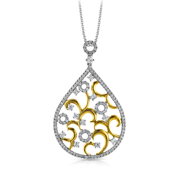 14k White and Yellow Gold 1.04ct Diamond Necklace