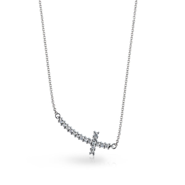 14k White .17ct Diamond Sideways Cross Necklace