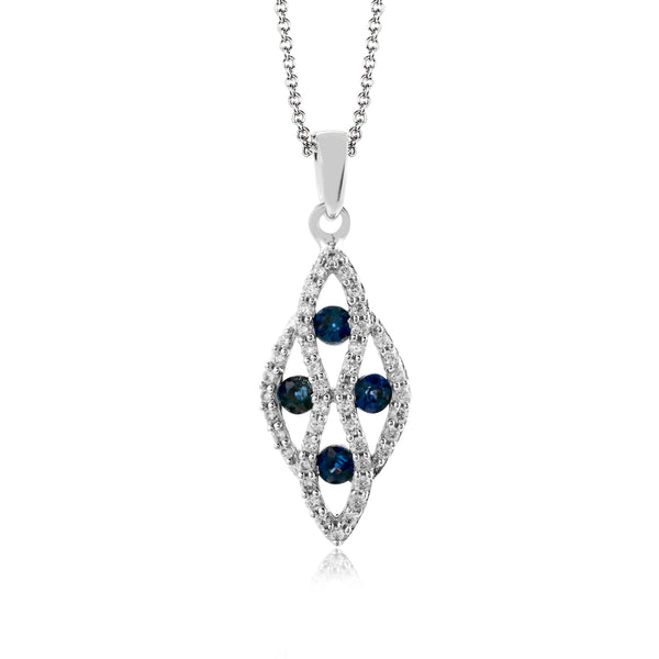14k White Gold .17ct Diamond and .18ct Sapphire Necklace