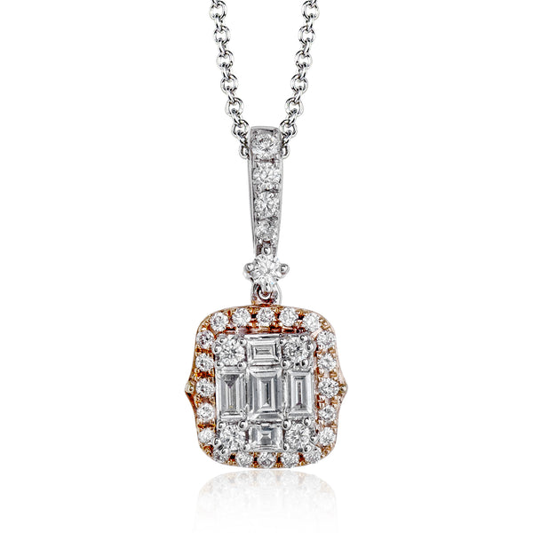 14k White and Rose Gold .39ct Diamond Necklace