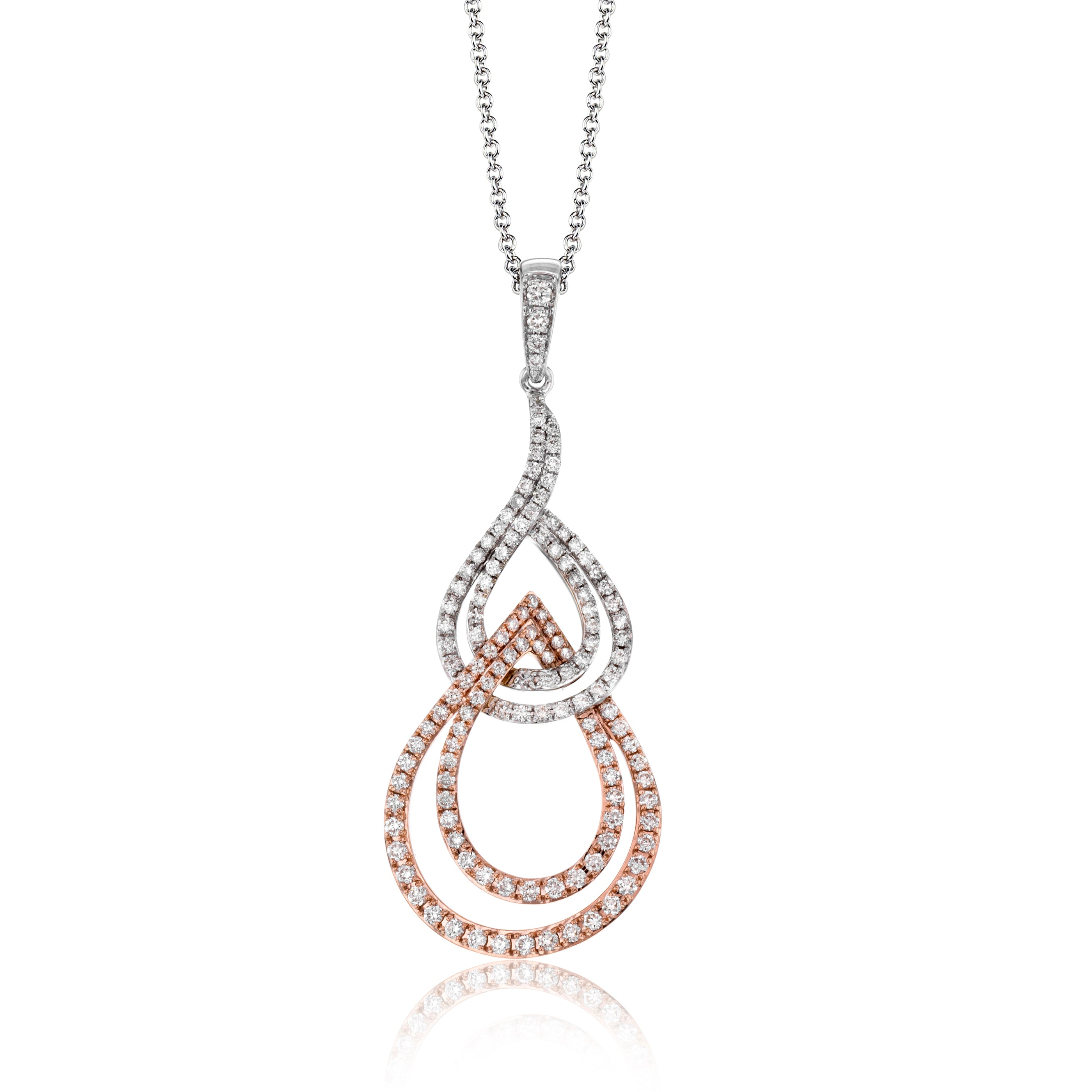 14k White and Rose Gold .58ct Diamond Necklace