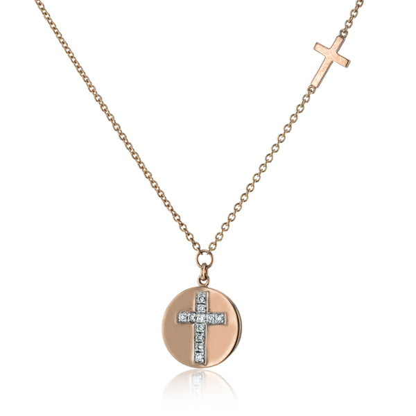 14k Rose Gold .05ct Diamond Cross Necklace