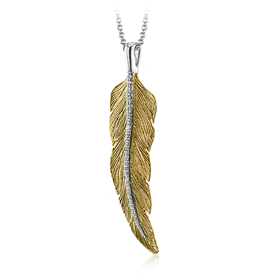 14k White and Yellow Gold .08ct Diamond Feather Necklace