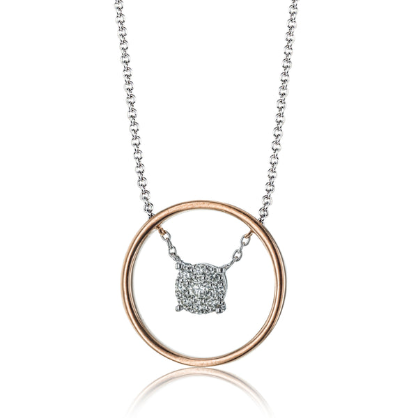 14k White and Rose Gold .21ct Diamond Necklace